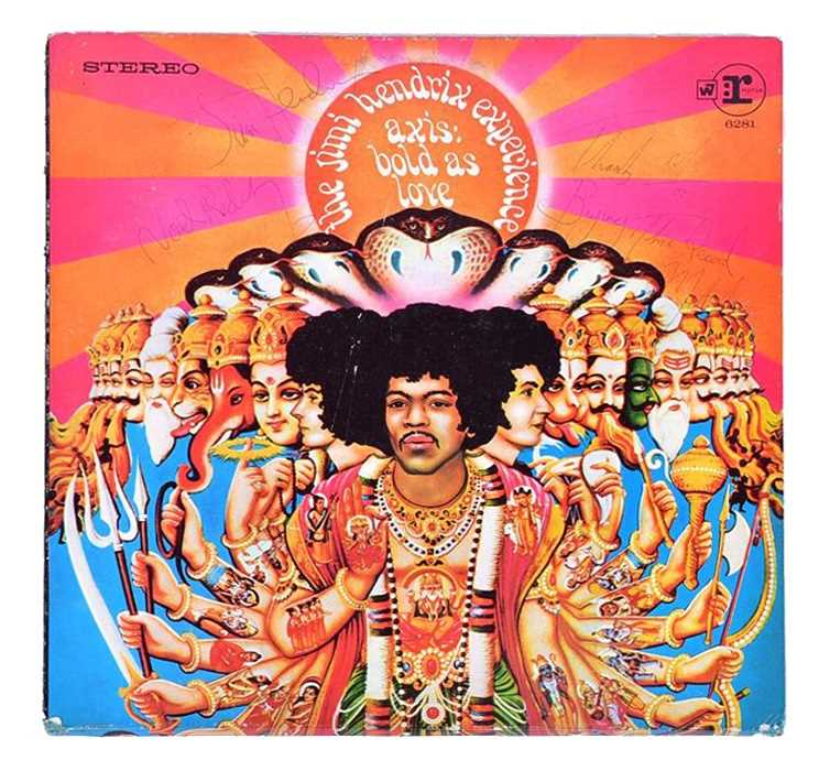Lot 376-A signed vinyl cover of Jimi Hendrix experience...