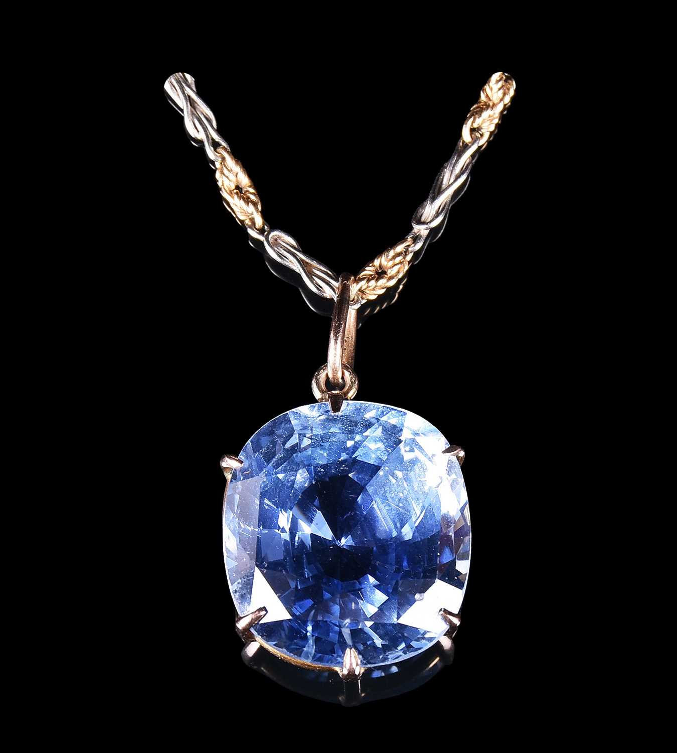 Lot 446-A large and impressive 30 carat sapphire pendant...