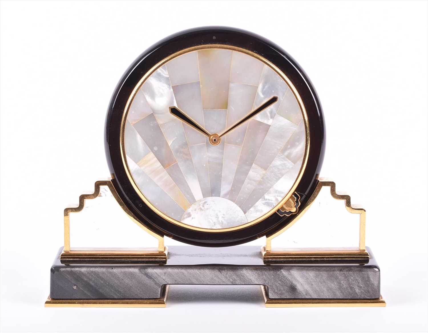 Lot 398-A Cartier Art Deco mother-of-pearl mantel clock...