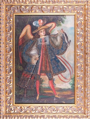 Lot 7-Cusco school, 20th century Ángel arcabucero ,...