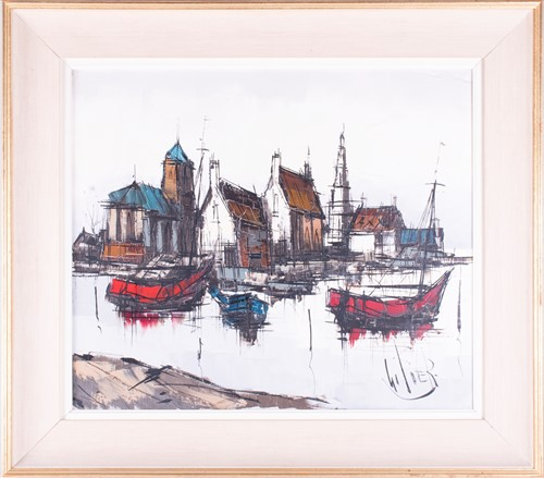 Lot 21-English school, 20th century depicting boats on a ...