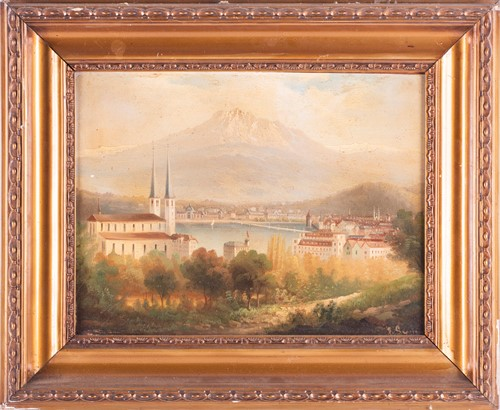 Lot 18-Swiss school, 19th century depicting a view of...