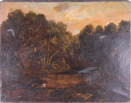 Lot 42-Barbizon School, 19th century depicting a water...
