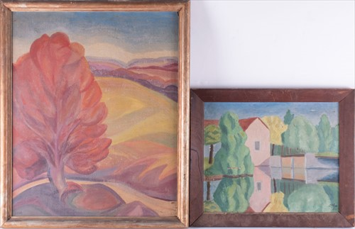 Lot 36-Canadian school, 20th century 'The red tree',...
