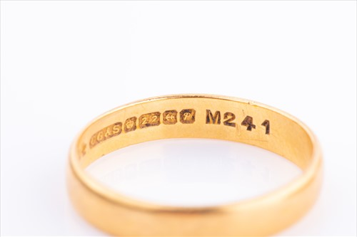 Lot 396-Two 22ct gold wedding bands 8 grams, together...