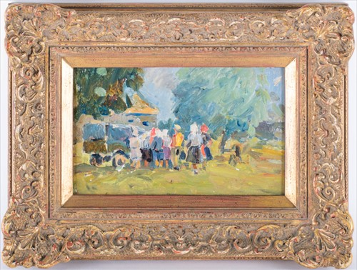 Lot 24-Russian School, 20th century depicting a group of ...