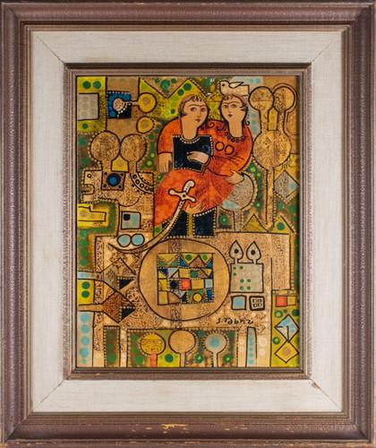 Lot 3-Sadegh Tabrizi (b. 1938) Iranian depicting a...