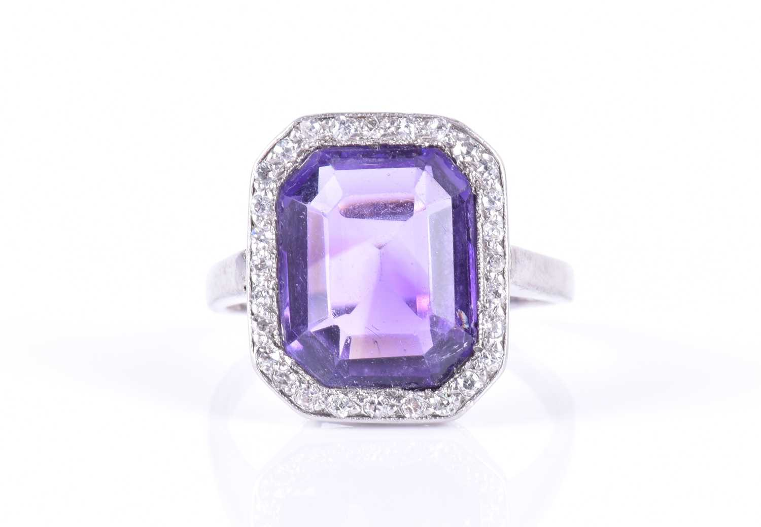 Lot 39-A diamond and amethyst cocktail ring in the Art...