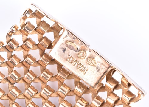 Lot 40-An 18ct yellow gold mesh-link bracelet possibly...