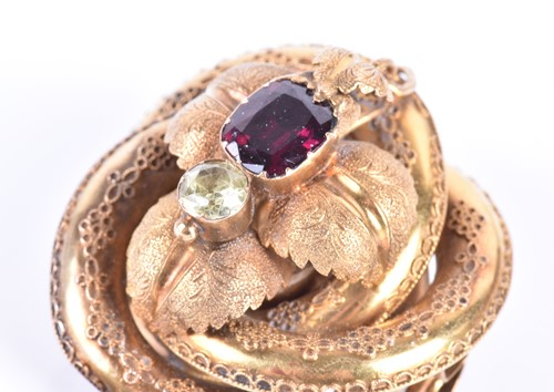 Lot 47-A Victorian yellow gold and garnet brooch of...