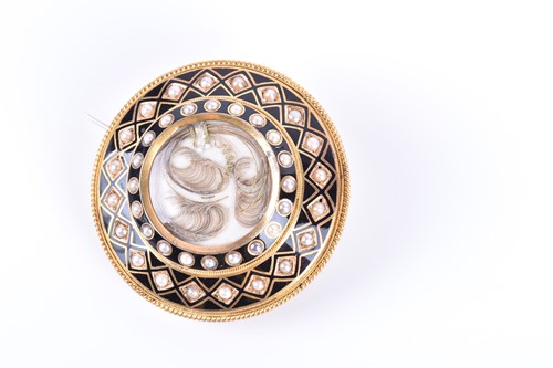 Lot 48-A Victorian yellow gold, pearl, and black enamel...
