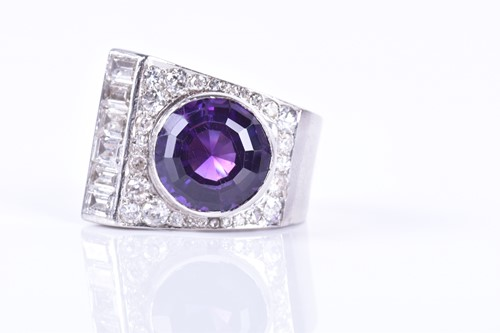 Lot 50-An Art Deco diamond and amethyst cocktail ring...