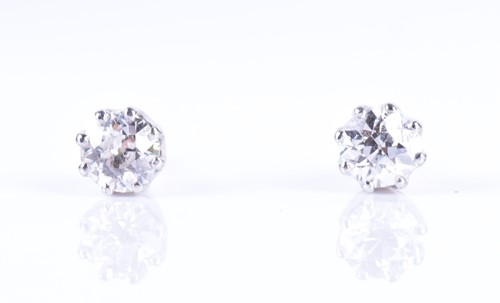 Lot 114-A pair of old round-cut solitaire diamond stud...