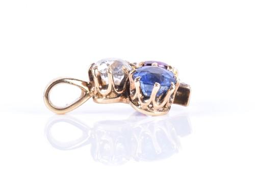 Lot 1-A diamond, sapphire, and ruby trefoil pendant set ...