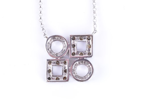Lot 11-An 18ct white gold and diamond pendant set with...