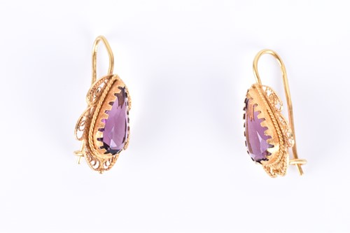 Lot 27-A pair of 18ct yellow gold and amethyst earrings...