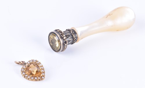 Lot 36-A yellow metal, citrine, and split seed pearl...