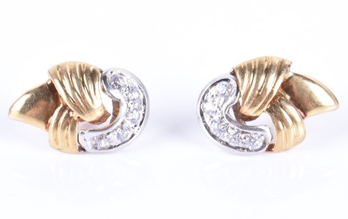 Lot 62-A pair of yellow gold and diamond earrings of...