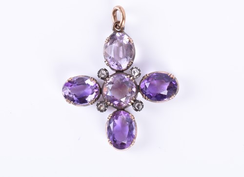Lot 69-A mid to late Victorian amethyst and diamond...