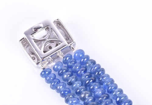 Lot 77-A sapphire and diamond bracelet four rows of...