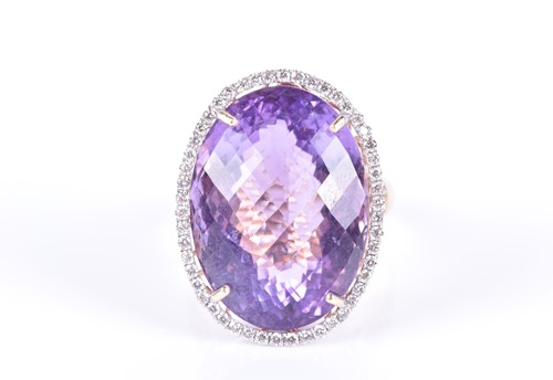 Lot 80-A 14ct yellow gold, diamond, and amethyst...