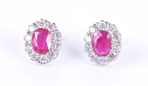 Lot 88-A pair of 18ct white gold, diamond, and ruby...