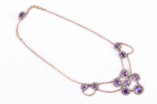 Lot 89-A late Victorian gold, amethyst, and pearl...
