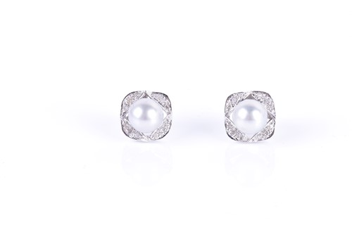 Lot 141-A pair of 14ct white gold, diamond, and pearl...