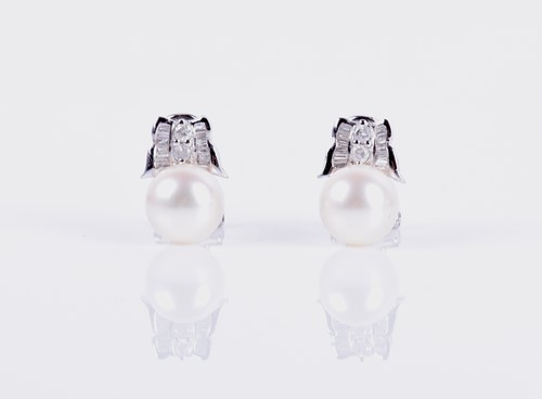 Lot 143-A pair of 14ct white gold, diamond, and pearl...