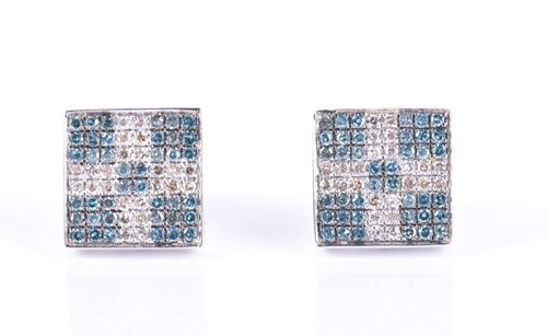 Lot 146-A pair of 14ct white gold, blue and white...