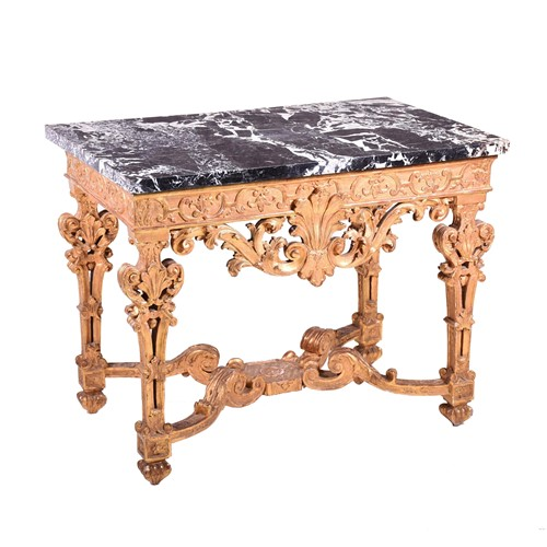 Lot 56-A Louis XIV giltwood and gesso side table the...