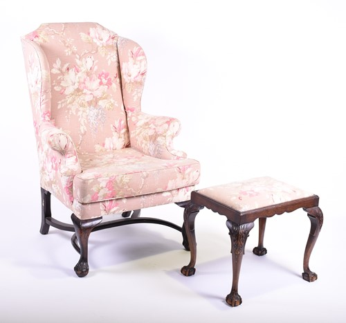Lot 75-A 19th century Queen Anne style wing armchair...