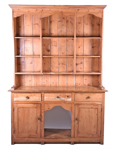 Lot 76-A Victorian pine dresser base. with later rack,...