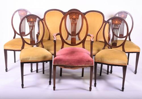 Lot 77-An Edwardian suite of parlour furniture,...