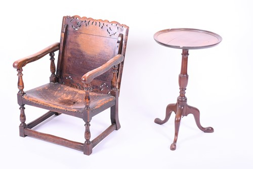 Lot 65-An oak Monk's chair early 20th century, with...