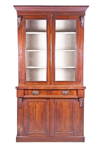 Lot 66-A late Victorian walnut veneered bookcase, with...