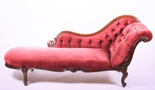 Lot 69-A Victorian walnut framed chaise longue with...
