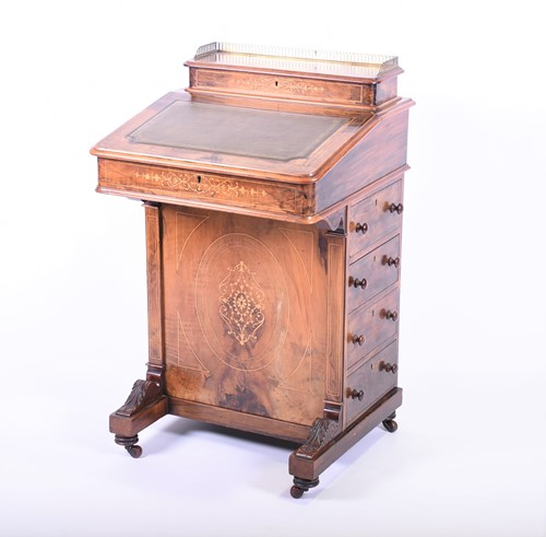 Lot 71-A Victorian walnut and marquetry inlaid Davenport ...
