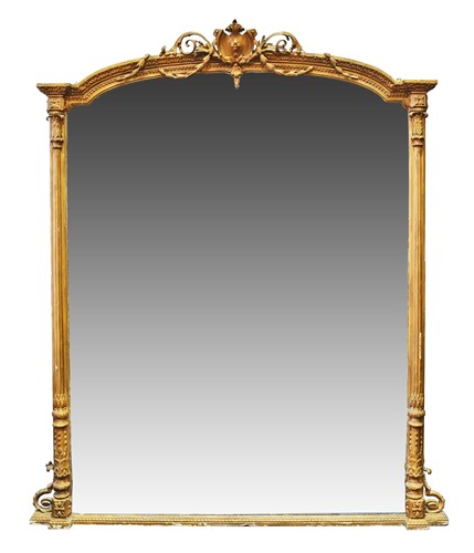 Lot 73-A Victorian gilt gesso overmantel mirror, of...