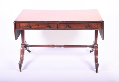 Lot 59-A Victorian mahogany sofa table with two drawers, ...