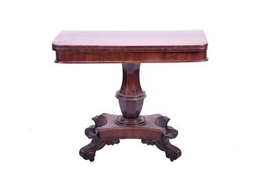 Lot 60-A 19th century mahogany fold-over card table, on...