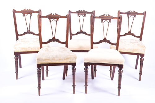 Lot 81-A set of five late Victorian salon chairs with...
