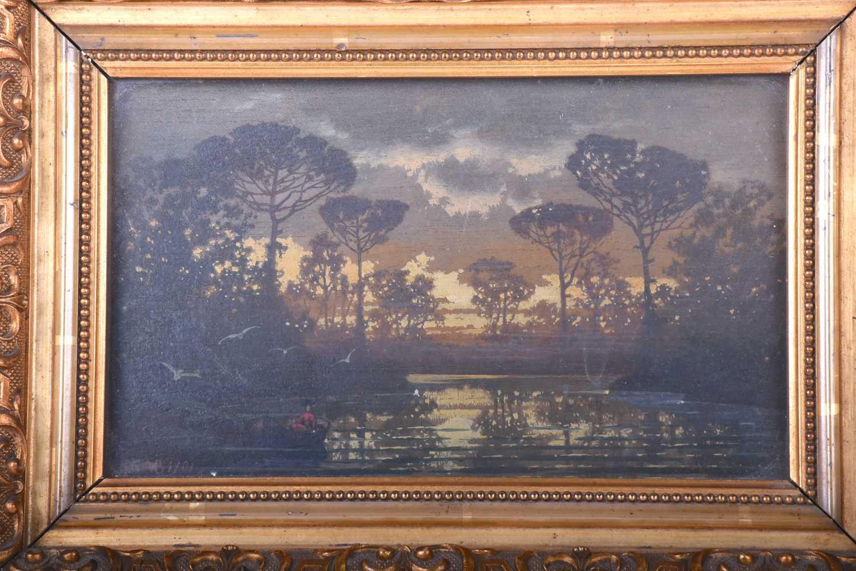 Lot 17-Ferdinand Knab (German 1834 - 1902) A moonlit...