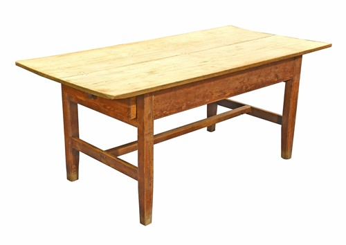 Lot 84-A 19th century pine single drawer kitchen table...