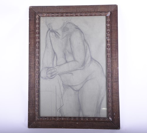 Lot 20-A charcoal on paper sketch of a female nude 20th...