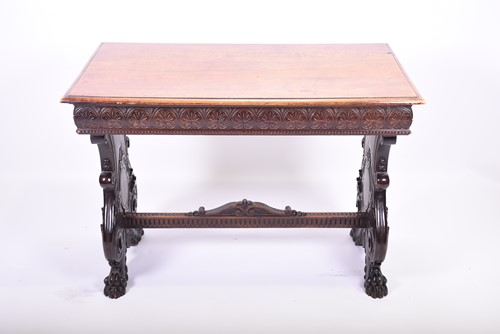 Lot 90-A Victorian carved oak library table the plain...