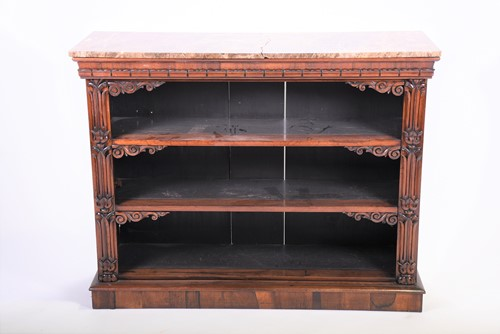 Lot 57-A Regency rosewood marble-topped open bookcase...