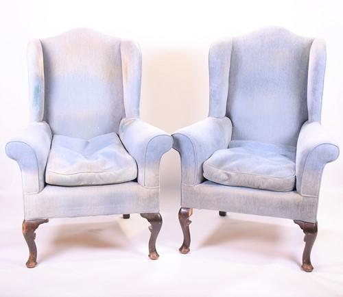 Lot 85-A pair of large 19th century wingback mahogany...