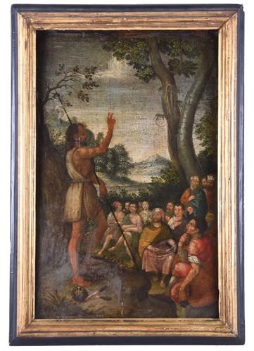 Lot 1-18th century North Italian School, The Preaching...