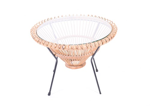 Lot 94-A Franco Albini glass topped wicker table, mid...